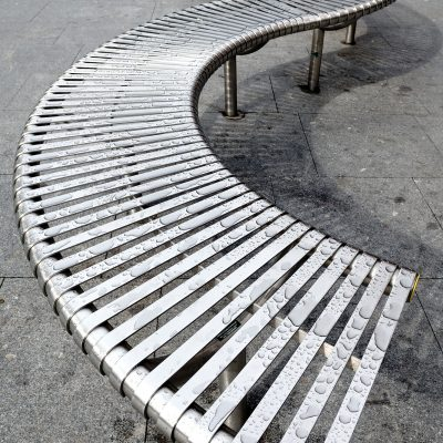 Bendy seating in Exeter High Street.