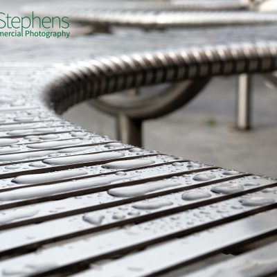 Bendy seating on Exeter High Street after the rain.