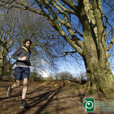 Dave Urwin running at Broomfield Hill, photographed for Trail Running Magazine