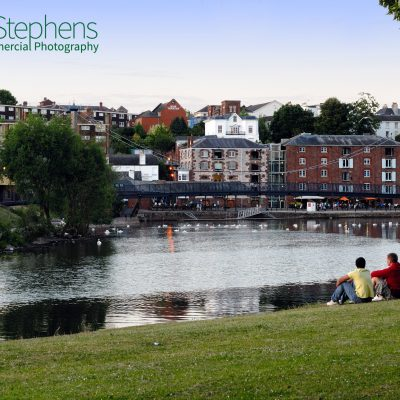 Looking towards the Quay in Exeter from the path alongside the River Exe on a lovely June evening.