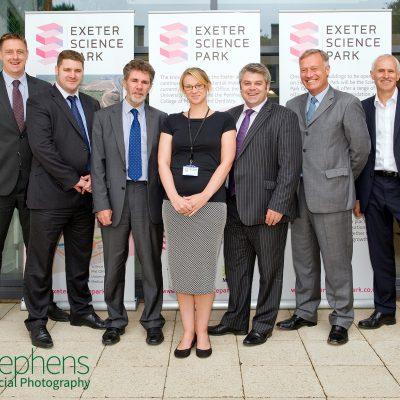 The Exeter Science Park Team photographed at the University of Exeter's Innovation Centre