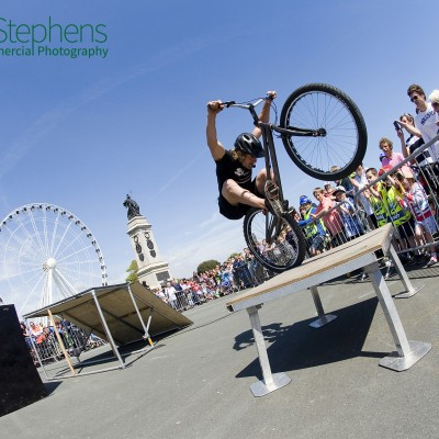 Andrei Burton Events team performing at the Sky Ride in Plymouth