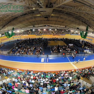 Fisheye view over the Manchester Velodrome
