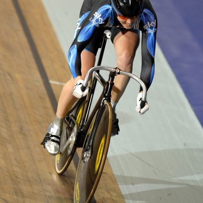 Victoria Pendleton racing at the Manchester Velodrome